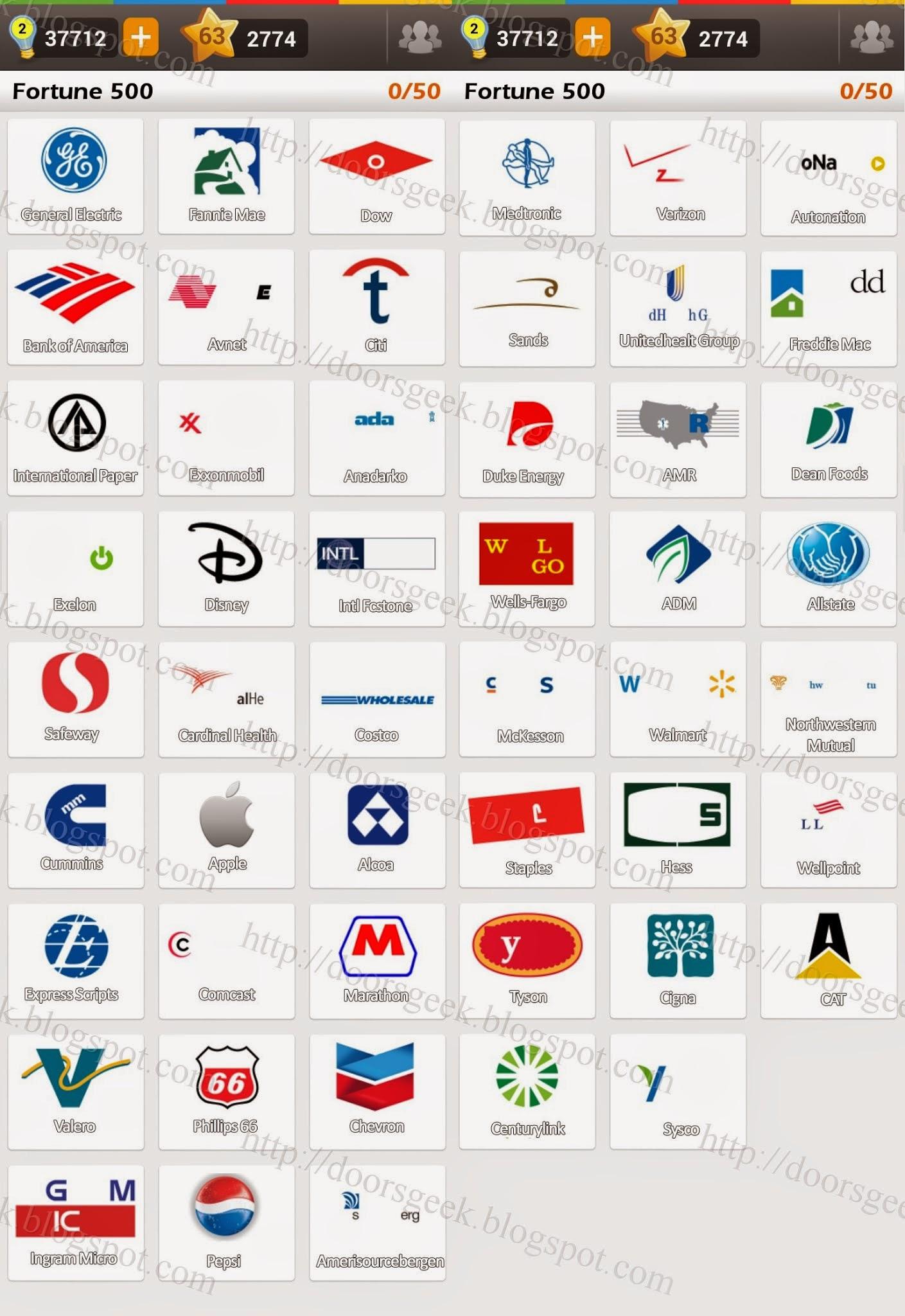 Logo Game Guess The Brand Bonus Fortune 500 Doors Geek